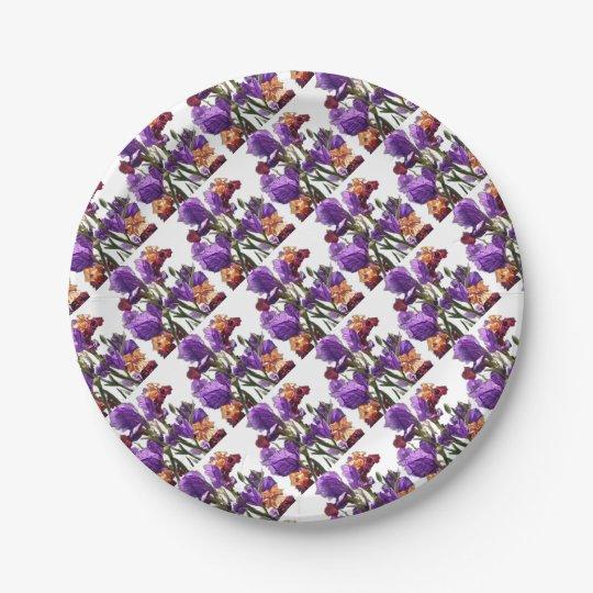 purple flower garden paper plate