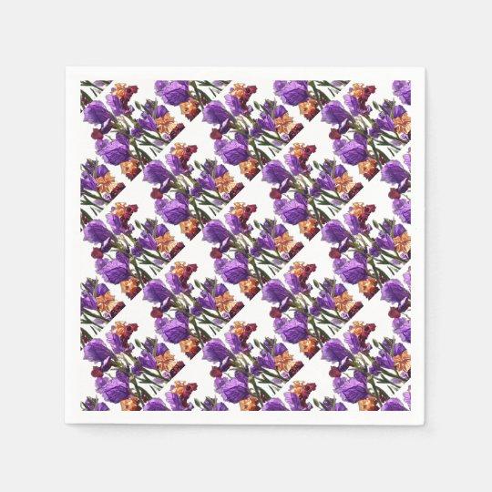 purple flower garden paper serviettes