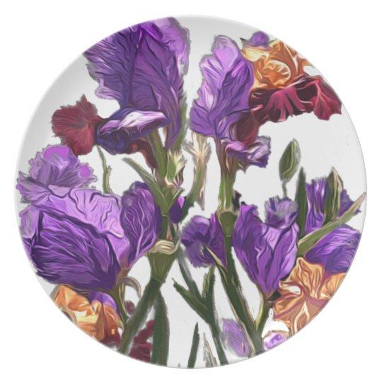 purple flower garden plate