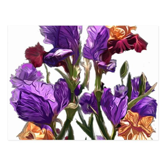 purple flower garden postcard