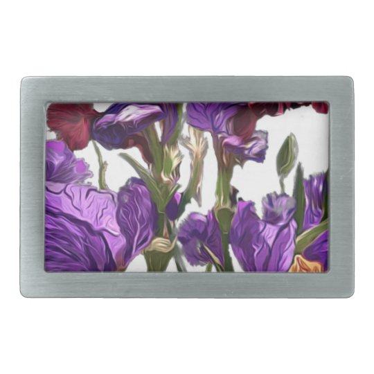 purple flower garden rectangular belt buckle