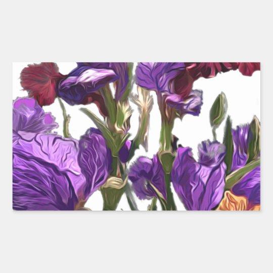 purple flower garden rectangular sticker