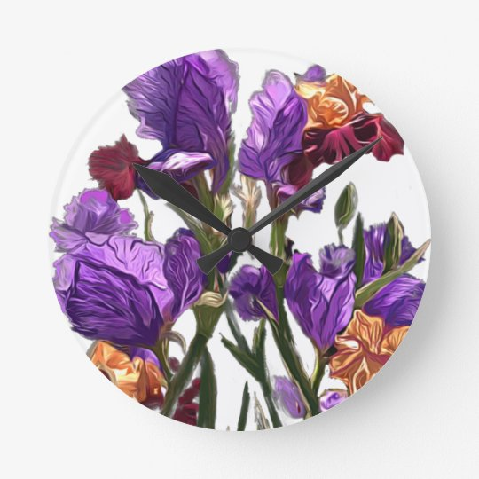 purple flower garden round clock