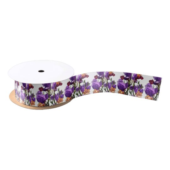 purple flower garden satin ribbon