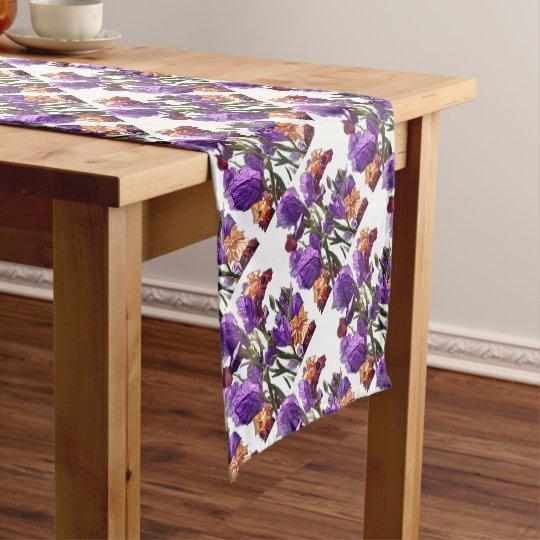 purple flower garden short table runner