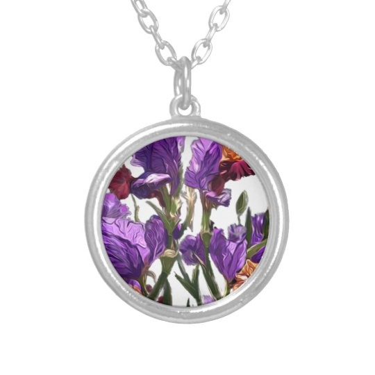 purple flower garden silver plated necklace