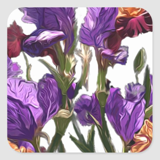 purple flower garden square sticker