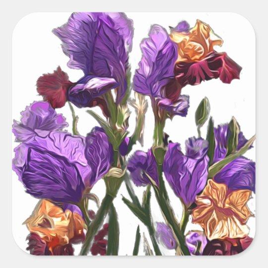 purple flower garden square sticker