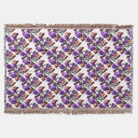 purple flower garden throw blanket