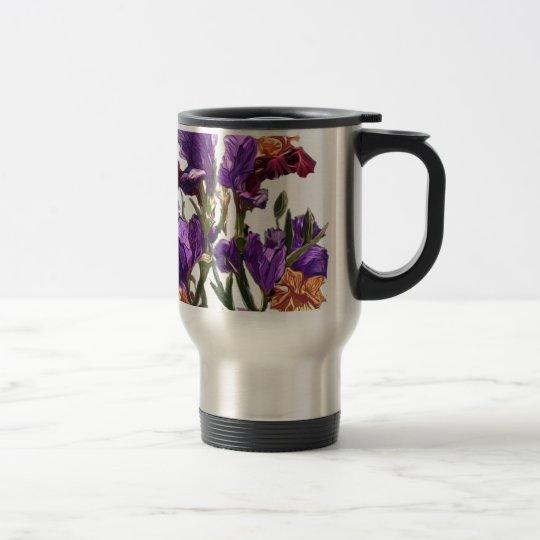 purple flower garden travel mug