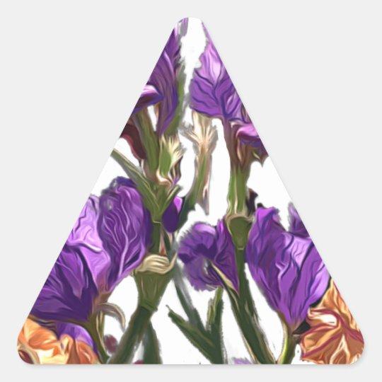 purple flower garden triangle sticker