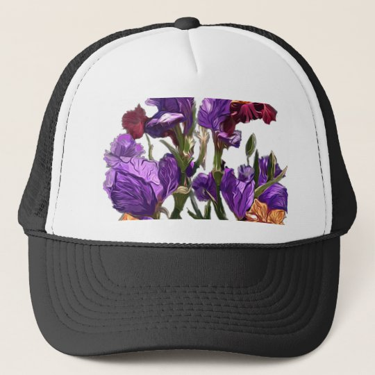 purple flower garden trucker hat