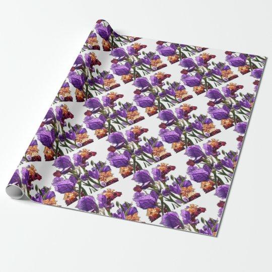 purple flower garden wrapping paper