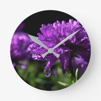 Purple Flower Girls Wall Clock