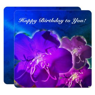 Purple flower happy birthday greeting card, blue card