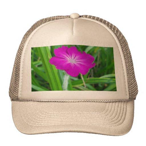 Purple Flower Mesh Hats