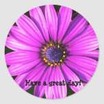Purple Flower, Have a great day! Round Stickers