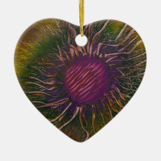 Purple Flower Head Ceramic Ornament