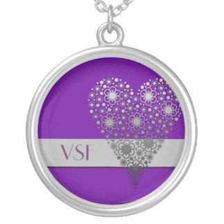 Purple Flower Heart Cute initial monogram necklace