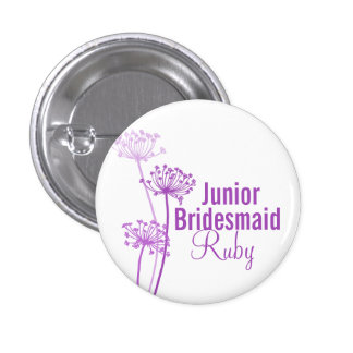 Purple flower junior bridesmaidwedding pin button