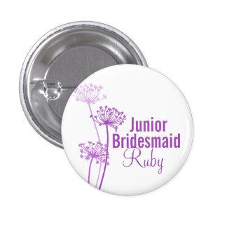 Purple flower junior bridesmaidwedding pin button