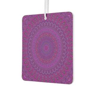 Purple flower mandala car air freshener