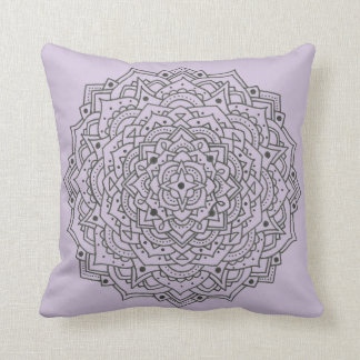 Purple Flower Mandala Throw Pillow