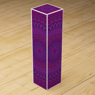 Purple flower mandala wine box
