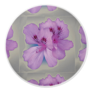 Purple Flower on Silver Gray Ceramic Pull Knob