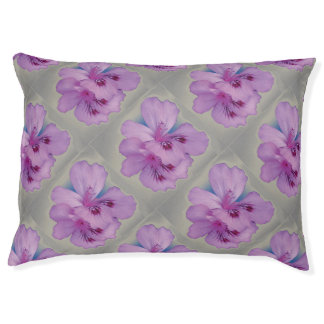 Purple Flower on Silver Gray Dog Bed