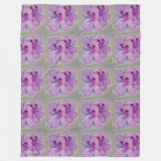 Purple Flower on Silver Gray Fleece Blanket