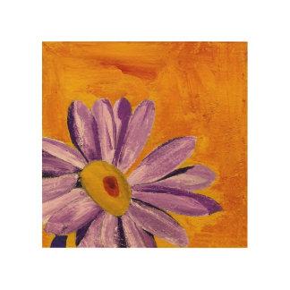 Purple Flower on Yellow Background Wood Wall Art