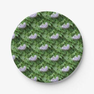 Purple flower party paper plate