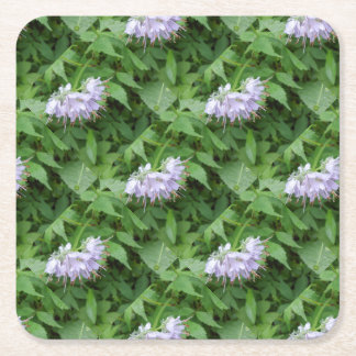 Purple flower party square paper coaster