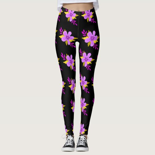 Purple Flower Pattern Leggings