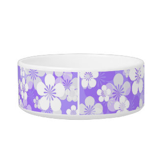Purple Flower Pattern Medium Pet Bowl