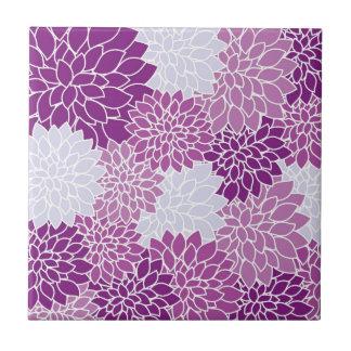 Purple Flower Pattern Small Square Tile