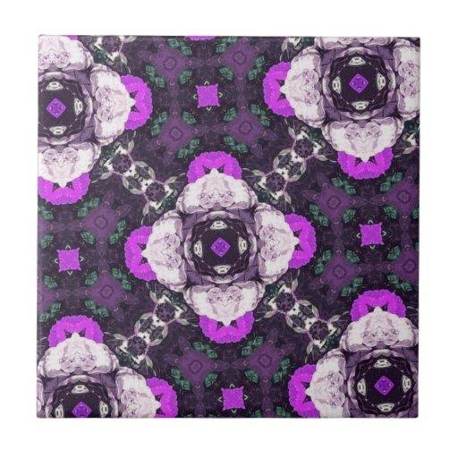 Purple Flower Pattern Tile