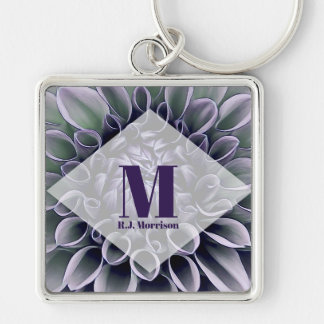 Purple Flower Petals with Monogram Key Ring