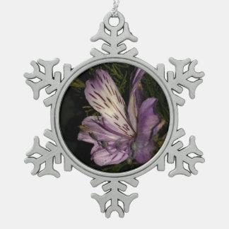 Purple Flower Snowflake Pewter Christmas Ornament