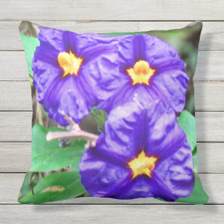 Purple Flower Photograph Outdoor Cushion