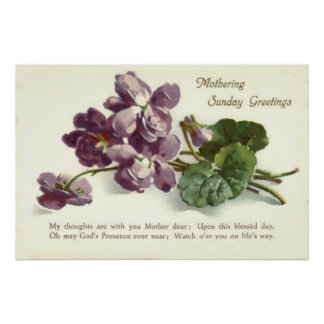 Purple Flower Prayer Sunday Mother's Day Poster