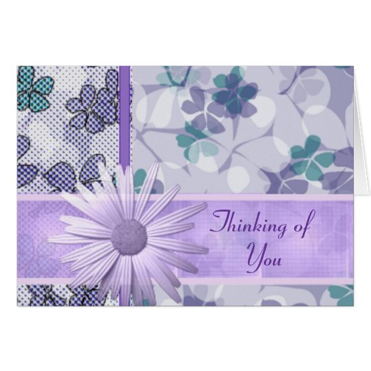 Purple flower print Thinking of you Card