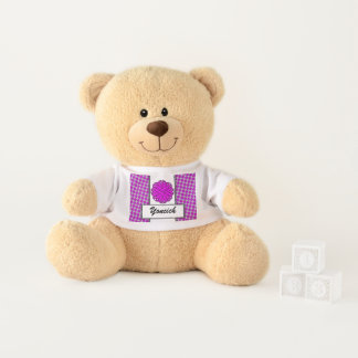 Purple Flower Ribbon by Kenneth Yoncich Teddy Bear