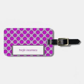 Purple Flower Ribbon Template Luggage Tag