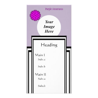 Purple Flower Ribbon Template Personalised Photo Card
