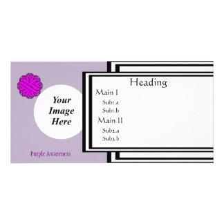 Purple Flower Ribbon Template Photo Greeting Card