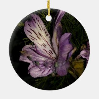 Purple Flower Round Ceramic Decoration