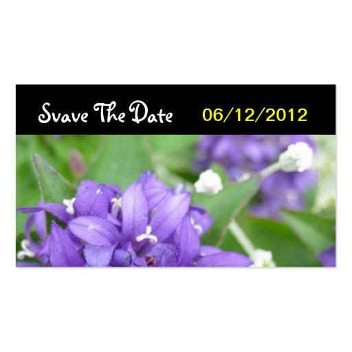 Purple Flower Save The Date Wedding Card Business Card Template