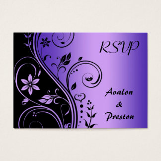 Purple Flower Scrollwork RSVP Wedding Card